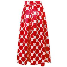 Vintage Polka Dot Print High Waist Maxi Skirt ($24) ❤ liked on Polyvore featuring skirts, red, women bottoms skirts, red high waisted skirt, high-waisted skirts, red maxi skirt, long red skirt and summer maxi skirts