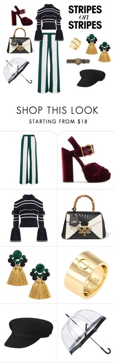 """""""Stripes on Stripes"""" by claudia-amezcua-betancourt ❤ liked on Polyvore featuring Monse, Prada, self-portrait, Gucci, Cartier, Fulton, stripesonstripes and PatternChallenge"""