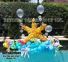 Balloon Sculpture - Starfish - Marine theme / Under the Sea party decorations . Extreme Decorations Miami, FL 786-663-8198 www.extremedecorations.com