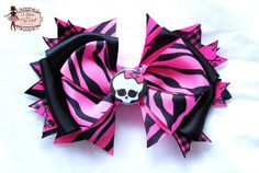 "Monster High Hair Bow  available at http://abowformydoll.storenvy.com/ . ""LIKE"" My Facebook Page for Latest Designs http://www.facebook.com/pages/A-Bow-for-my-Doll-Tutus-by-Gloria-Chang/237381999629806?ref=hl"