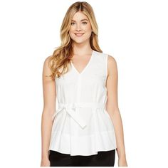 Ellen Tracy Tie Waist Top (White) Women's Blouse (80 PAB) ❤ liked on Polyvore featuring tops, blouses, white sleeveless blouse, ruffle blouse, white ruffle blouse, white sleeveless top and sleeveless tops