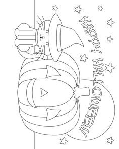 Don't Eat the Paste: Another Halloween coloring page Lots of free coloring pages and original craft projects, crochet and knitting patterns, printable boxes, cards, and recipes. Pumpkin Coloring Pages, Fall Coloring Pages, Cat Coloring Page, Coloring Pages For Kids, Coloring Books, Halloween Coloring Pages Printable, Halloween Coloring Sheets, Halloween Worksheets, Halloween Activities