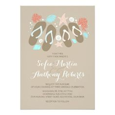 modern beach wedding invitation with flip flops