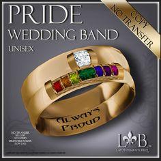 "Wedding Band ""Pride"" Gold Rainbow Ring"