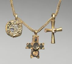 Chain with Pendant and Two Crosses, early 500s Byzantium, Syria?, Byzantine period, early 6th century gold with enamel and glass, Overall - h:16.90 cm (h:6 5/8 inches). Purchase from the J. H. Wade Fund 1947.35