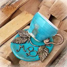 Šálka na kávu s monogramom Coffee cup #picollo #turquoise #bronze #ceramic #polymerclay