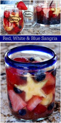 WMF Cutlery And Cookware - One Of The Most Trustworthy Cookware Producers Red, White And Blue Sangria Recipe From Recipegirl Top Recipes, Dessert Recipes, Cooking Recipes, Drink Recipes, Party Recipes, Delicious Recipes, Red Sangria Recipes, Cocktail Recipes, Peach Sangria
