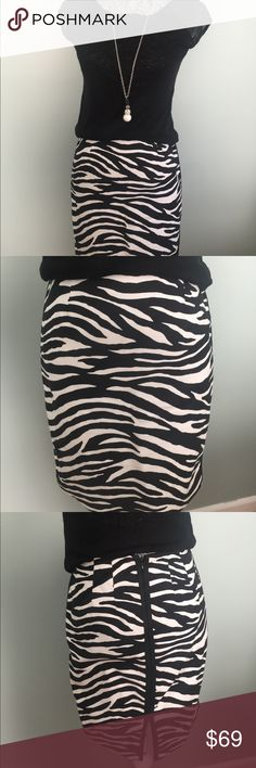 "❤️Black and white zebra skirt❤️ ❤️Black and white zebra skirt❤️fully lined. Materials of shell 97% cotton 3% spandex.  Lining is 100% polyester. Machine wash cold. Zipper in back. Darts on waist.  Sides have a black line border.  Beautiful pencil skirt.  Approx Measurements: does have stretch Length: 19"" Waist:  12 1/2"" Hips: 16""  🚭smoke free/pet free 📬Fast ship 🚫No trades 🚫no transactions off line.(POSH only) ✅Accepted reasonable offers  ❤POSH ambassador, suggested user, party host and…"