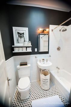 Black and White Bathroom Mini Makeover Complete  Brooklyn Limestone 31 retro black white bathroom floor tile ideas and pictures  . Black And White Bathrooms Images. Home Design Ideas