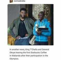T'Challa and Okoye got Starbucks after the Olympics in Wakanda. Avengers Memes, Marvel Memes, Marvel Avengers, Marvel Funny, Marvel Dc Comics, I Understood That Reference, Dc Memes, The Villain, Marvel Cinematic Universe