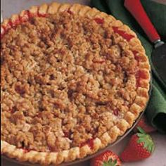Strawberry/Rhubarb Crumb Pie I make it every spring.  It is soo good!  Change the flour amount to 5-6 tablespoons and I also add 1/2 teaspoon of fresh ground nutmeg.