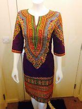 African Print Dresses  sizes 10- 18 100%cotton,Dashiki,and United Kingdom