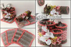 наборчик для кухни - салфетки под горячее, ораганайзер для вилочек-ложечек и тубус для ножей  - мое плетение из газеток