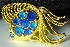 "BIG Vintage Napier Summer Fish Gold and Aqua Crystal Gem 2"" Brooch RARE!"