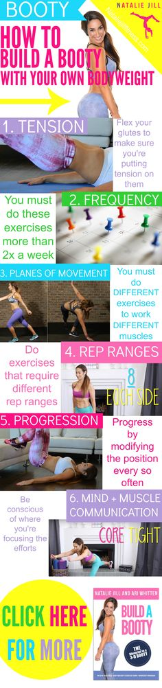 Here are 6 things you need in order to build a booty with your own bodyweight! Click the image for an informational video!