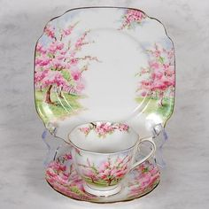 Manufacturer: ROYAL ALBERT - Pattern: Blossom Time - Salad plate and cup & saucer.