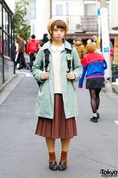 Vintage Style Midi Skirt, Mint Coat & Haruta Loafers in Harajuku