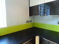 White & Lime glass kitchen splashback by CreoGlass Design (London,UK). Two Tone Design is a very simple solution to overcome a difficult decision on colour. Your kitchen cupboards are white or cream we have a solution. #kitchen
