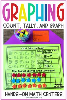 Graphing and data worksheets for kindergarten and first grade. Students sort, count, graph, and analyze data. Kindergarten First Week, Kindergarten Special Education, Number Sense Kindergarten, Number Sense Activities, Graphing Activities, First Grade Math, Kindergarten Worksheets, Hands On Activities, Fun Activities