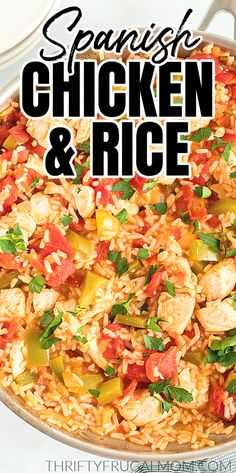 Spanish Chicken and Rice- this easy stovetop skillet recipe is made with chicken, long grain rice, tomatoes, peppers, onions, chicken broth, garlic powder and salt. Simple but so delicious! The perfect quick and easy weeknight family dinner. Entree Recipes, Meat Recipes, Easy Dinner Recipes, Easy Meals, Dinner Ideas, Cheap Meals, Healthy Dinners, Healthy Eats, Delicious Recipes