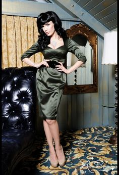 Mon Cheri Dress in Olive by Deadly Dames