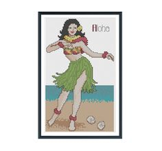 Hula Girl Cross Stitch Pattern Instant Download by tinymodernist, $6.00