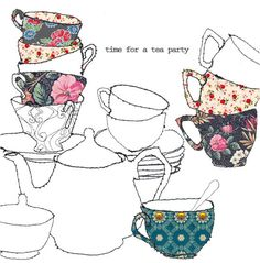 Wish list for the day: tea party with dear friends who are scattered across the country Illustrations, Illustration Art, Teapots And Cups, Teacups, Textiles, Tea Art, My Cup Of Tea, Kitchen Art, Drinking Tea