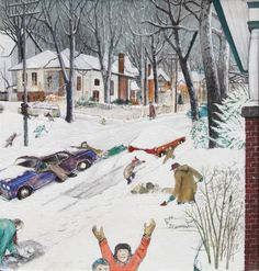 William Kurelek (Ukr/Can. Winter in the village mixed media Canadian Painters, Canadian Artists, Winter Art, Winter Snow, Winter Illustration, Illustration Art, William Kurelek, Hunters In The Snow, Canadian Prairies