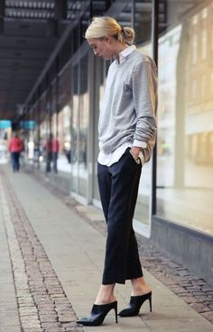 tomboy, spring neutrals, fall spring work, sweater over shirt, oxford shirt, white collared shirt, preppy, mules, cropped pants, sweatshirt to work, oversized sweater