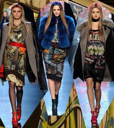Whats The Latest Trend? Graffiti Fashion! This collection if full of fun patterns contrasted against layers of sexy suiting and coats embellished with rich fur, metallic fabrics and leather that certainly grab's everyones attention.