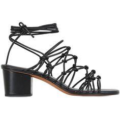 Chloé Women 50mm Lace-up Leather Sandals (€355) ❤ liked on Polyvore featuring shoes, sandals, black, leather sandals, chloe shoes, black sandals, leather lace up sandals and lace up sandals