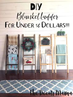 How to make your own blanket ladder, DIY Blanket Ladder, Blanket Ladder, DIY Farmhouse Decor, Easy D Diy Ladder, Diy Blanket Ladder, Ladder Decor, Ladder For Blankets, Easy Home Decor, Cheap Home Decor, Diy Furniture Cheap, Farmhouse Decor Cheap, Diy House Furniture