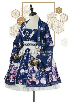Mirror Flower~Kimono Style Lolita JSK -out Japanese Fashion, Asian Fashion, Rock Fashion, Fashion Boots, Hot Topic Clothes, Clothes For Women, Kimono Fashion, Fashion Dresses, Scene Outfits