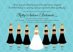 Wedding Bridesmaid Brunch. Luncheon, Breakfast Buffet. Bridesmaids Lunch wording