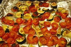 Roasted Tomatoes and Zucchini Recipe   Ingredients  •2 medium sized zucchini, chopped into bite sized pieces  •1 small container of cherry tomatoes (about 20 tomatoes), sliced in half  •Non-fat olive oil cooking spray  •1 tsp sea salt   450 degrees, roast in oven until vegetables start to char, about 15-20 minutes.