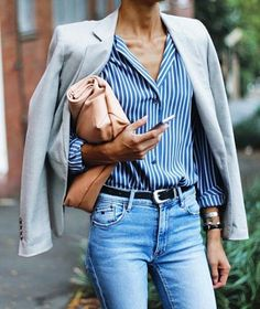 Love the outfit with the shirt tucked into the jeans.