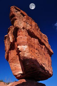 ~~Balanced Rock At Garden Of The Gods With Moon ~ Colorado Springs, Colorado by John Hoffman Photos~~