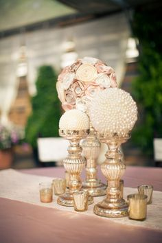 diy vintage and morden wedding centerpieces