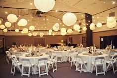 LDS Reception Cultural Hall ceiling | Wedding Reception Decoration Ideas - Like this too with the gym lights out.
