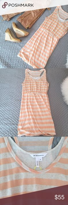 NEW BCBGeneration Striped Tank Dress! This peach and natural striped dress from BCBGeneration is a summer must have! Wear this with a leather jacket and wedges as pictured or as a swimsuit cover up with flip flops and a cute hat. This item is brand new without tags! Last photo is to show the fit- please note the color is as pictured in the first three photos! Happy Poshing! BCBGeneration Dresses Mini