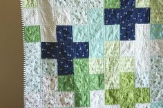 This is the first time I have made a plus quilt, and I am really liking this pattern. It's so simple (just squares), but I love that it . Plus Quilt, How To Finish A Quilt, Baby Crafts, Squares, Quilts, Blanket, Sewing, Nice, Simple
