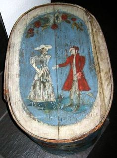 Antique early European painted Bride's Box.
