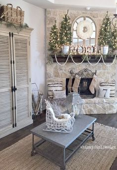 Our neutral Christmas wonderland is complete with the help of this adorable white wicker sleigh, chippy lantern and Flokati inspired pillows from HomeGoods! Christmas Fireplace, Christmas Room, Merry Christmas To All, Christmas Mantels, After Christmas, Noel Christmas, Rustic Christmas, White Fireplace, Silver Christmas