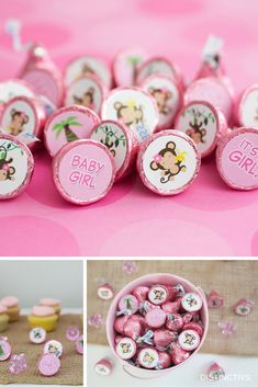 Sweet Baby Girl Monkey themed stickers perfect for Hershey Kisses and so much more.  #itsagirl