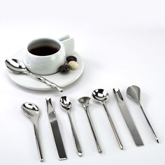Mixed spoon set by Alessi. Coffee Spoon, Alessi, Measuring Spoons, 3d Printing, Cutlery, Product Design, Florence, Grid, Beverages