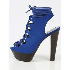 Breckelle's Betsey- Peep Toe Lace Up Heels BLUE ($11) ❤ liked on Polyvore featuring shoes, blue, platform lace up shoes, bohemian shoes, chunky heel shoes, blue high heel shoes and crochet shoes