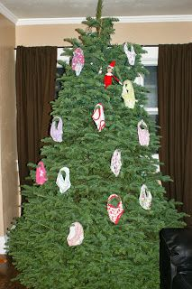 Elf on the Shelf puts kids underwear on the tree... a blog some of the best Elf ideas out there.