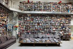 Karl Lagerfeld's impressive library of coffee-table books takes horizontal stacking to the next level.