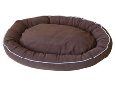 CPC Microfiber Oval 42 x 30 x 8-Inch Lounge Bagel Chocolate Pet Bed with Linen Piping, X-Large * Unbelievable dog item right here! : dog beds