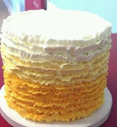 Ombre yellow buttercream ruffled cake